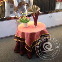 工厂直销 皱纹西式风格闪烁效果全棉色织餐厅桌布 定制