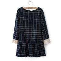 【下架】秋冬新款女装2013爆款日韩格子褶皱女式连衣裙wp1933