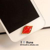 2013 新款 钻 红唇 苹果HOME贴 苹果手机按键贴 213