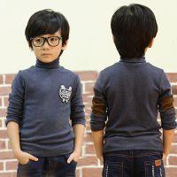 14冬款童装 男童韩版纯色加绒高领贴标打底衫 中小童保暖长袖T恤