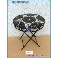 滢发 铁艺圆桌 田园风格 圆形餐桌 折叠餐桌 休闲家具 来图定做88