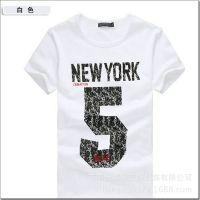 供应2014夏季新款韩版男士短袖5字印花T恤 打底衫男修身半袖 厂家直销