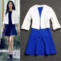 欧美大牌外贸原单 明星同款中袖西装外套+蓝色无袖背心裙套装