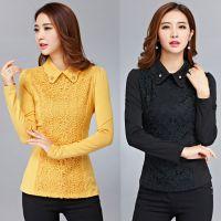 一件代发2014秋季新款韩版蕾丝打底衫长袖t恤女装大码修身上衣