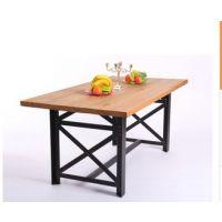 北欧咖啡茶餐厅桌椅 实木家具 原木复古铁艺餐桌 厂家直销