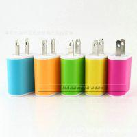 厂家批发糖果色足1A充电头手机通用型充电器USB充电头直充充头