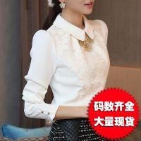 蕾丝衫女长袖春装新款韩版女装修身衬衫雪纺衫上衣大码打底衫