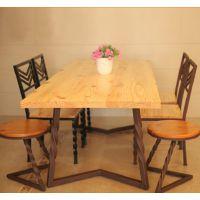 可定做星巴克餐桌美式实木桌子复古咖啡桌餐厅家用餐桌椅组合批发