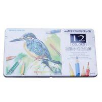 雄狮12色水彩色铅笔 WP-12铁盒 水性色铅笔 彩色铅笔 水溶性铅笔
