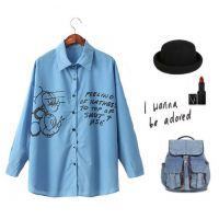 2014新款春装来自星星的你同款时尚休闲百搭卡通字母衬衫C031