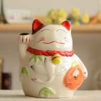 zakka 杂货 招财猫存钱罐 储蓄罐 陶瓷摆件 车饰 礼品 A0312