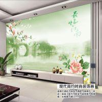 田园风格大型壁画/山水风景瀑布背景墙/客厅沙发电视壁画厂家批发
