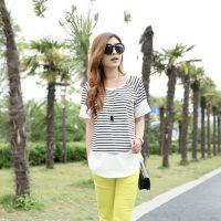 夏装新款女士黑白条纹宽松圆领打底衫韩版女式T恤  短袖T恤女