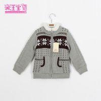 外贸童装 秋冬儿童毛衣 男童加绒提花针织外套 加厚羊羔绒毛衣