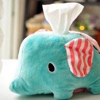 卡通可爱创意毛绒玩具 忧伤马戏团大象纸巾套 车用纸巾抽纸巾盒