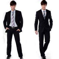 经典翻盖两扣韩版修身男士商务西服大学生毕业正装免试职业套装