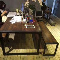 美式乡村复古实木铁艺餐桌 咖啡桌椅组合 工作桌椅 会议桌椅