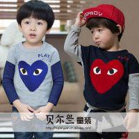 贝尔兰2014年秋季新款外贸童装 韩版儿童打底衫男童女童T恤童上衣