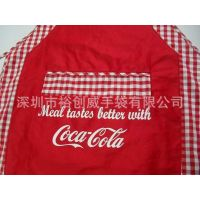 供应龙岗裕创威手袋厂 专业生产订做 格子棉涤纶围裙 耐用围裙
