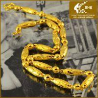 24K黄铜镀金圆柱链 镀黄金仿真金项链 时尚男士圆珠项链 饰品批发