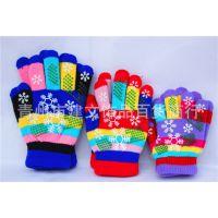 批发供应女士七彩胶印保暖加厚全指手套 胶印彩虹五指手套