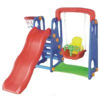 春蚕牌 多功能儿童室内滑梯+秋千组合 室内玩具步步高滑梯+投篮