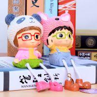 供应人物熊猫吊脚娃娃隔板装饰品厂家直销创意礼品批发