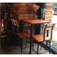 美式复古铁艺餐桌椅组合三件套餐厅桌椅咖啡桌椅餐饮酒吧桌餐椅桌