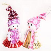可爱圣诞雪人铃铛挂件挂饰 圣诞树创意装饰道具 节庆用品礼品批发