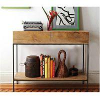 美式乡村家具铁艺置物架 复古式做旧实木书架 客厅家具整理收纳