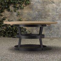 美式复古铁艺休闲咖啡桌吧台桌实木做旧圆形桌子会议桌聚会桌定做