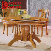家用全实木餐桌椅圆桌9011 圆形实木餐桌椅组合 高档餐厅木圆桌
