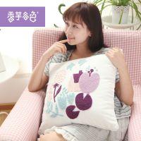 乡村系列时尚简约抱枕套 香芋谷色鲁绣田园布艺靠垫 沙发靠枕套