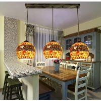 臻奇 地中海餐厅吊灯 彩色3头客厅吊灯过道玄关吧台灯具 批发