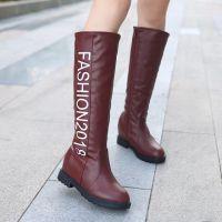 冬季新款女靴 中筒时尚休闲字母圆头女靴平底皮靴女靴子 厂家批发