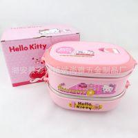 新款上市 双层方形卡通便当盒 Hello Kitty不锈钢卡通饭盒