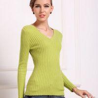 鄂尔多斯 女式V领新款春装女士百搭羊毛衫 毛衣 打底衫