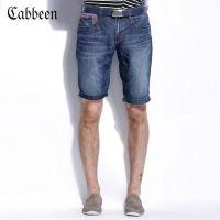 供应潮牌C家男装夏装新款小直筒牛仔裤五分裤男士修身牛仔短裤子LK551
