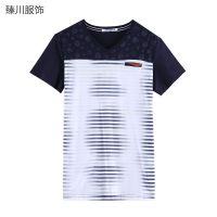 供应【臻川】P501#男装条纹打底衫 潮流渐变 花纹元素短袖男V领T恤