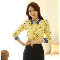 2014春装新款韩女装修身圆点衬衫雪纺衫上衣大码打底衫