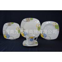20头方形陶瓷烤花餐具  可加印logo  酒店餐厅餐具套装