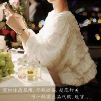 女装秋装新款 韩版时尚褶皱泡泡袖修身打底衫 宽松显瘦上衣