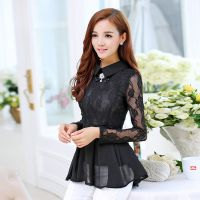 雪纺衫女 2014秋季新款 韩版长袖打底衫 娃娃领修身上衣