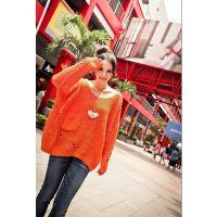 秋装新款韩版低圆领宽松大码镂空针织衫毛衣共3色