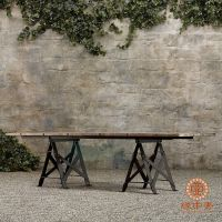 LOFT美式风格复古餐桌椅实木做旧工作台书桌电脑桌办公桌椅批发
