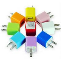 iphone5S5C充电器插头 iPhone4/4S绿点充USB插头 彩色手机充电器