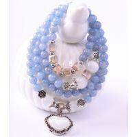 纯天然猫眼石 水晶手链 天然石多层串珠手链手镯 蓝色转运手串