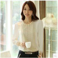 2014秋装新款大码女装上衣白色舒适韩版打底衫长袖女雪纺衫