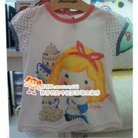 XQ14夏 allo lugh女宝宝白色头像印花款式针织纯棉短袖T恤原单