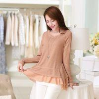 2014新款秋装韩版收腰裙摆雪纺小衫中长款长袖打底衫女宽松上衣